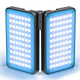 Hagibis King20 Folding 2-Pack RGB Video Camera Light,Double-Sided Swivel LED Video Photography Light 2600-12000K Light Panels,Built-in Rechargeable Battery 360° Full Color 12 Light Effects