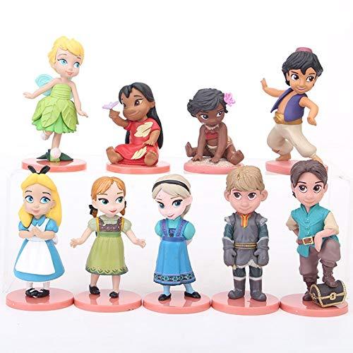 Regalo de cumpleaños 9 unids/set princesa congelada Elsa Anna Moana Tinker Bell figura de acción juguetes chica cumpleaños regalos PVC modelo princesa Alicia