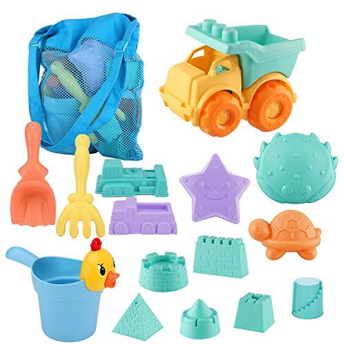 SHANNA Juguetes de Nieve, Juguetes de Playa para niños, Juego de Juguetes de Playa y Arena para niños con moldes de Bucket Castle y Bolsa de Malla Material plastico Blando (15 Piezas)