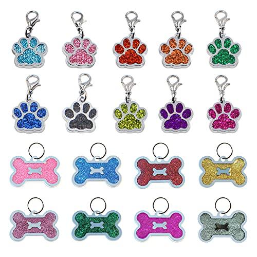 HACRAHO Etiqueta de identificación de perro personalizada, 18 piezas, etiqueta de perro con estampado de pata y forma de hueso brillante para perros, gatos y mascotas