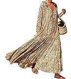 Tomwell Mujer Casual Vestidos Verano Playa Fiesta Manga Largo Cuello en V Floral Boho Largo Vestido Elegante Chic Maxi Vestid A Amarillo 46