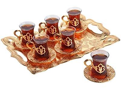 Turkish Tea Set with Tray, Glass Tea Cups Saucer Set 6, Tea Set Women Men Adults, Tea Mug, Coffee Tea Party Accessories, Turkish Tea Glasses, Afternoon Tea Lovers Teacup, Fancy Tea Service (Gold)
