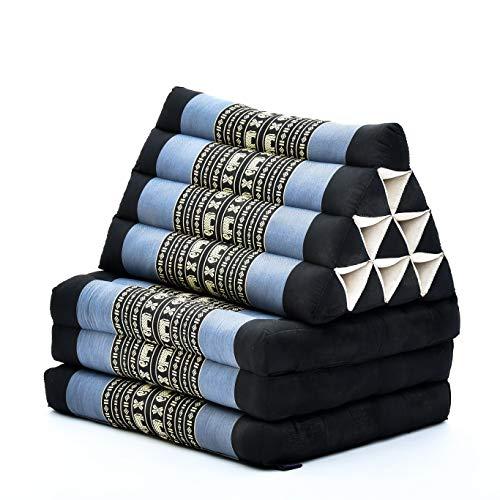Leewadee colchón Plegable con Tres segmentos – Futón con cojín Hecho a Mano de kapok, colchoneta tailandesa, 170 x 53 cm, Azul