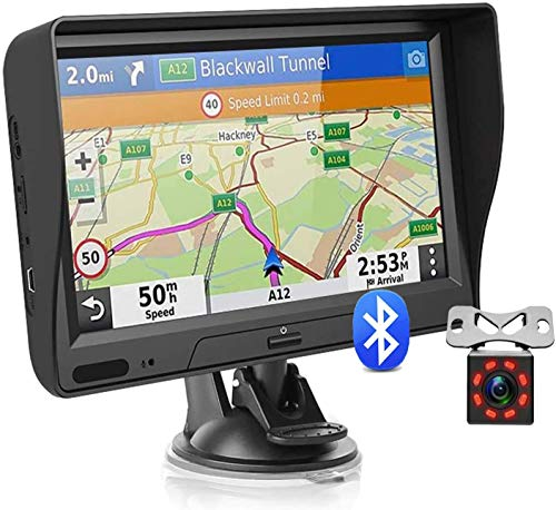 GPS Navigation for Car Truck with Bluetooth Lifetime Map Update 7 inch Touchscreen 8G 256M Car Navigator Support Voice Broadcast Turn Direction Guidance, Speed Warning + Backup Camera