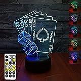 Jugando a las cartas Luz Nocturna Infantil, Juguete Jugando a las cartas para Chicos, Lámpara de Noche 3D de 7 Colores con Control Remoto, Regalos de Cumpleaños para Niños y Adultos