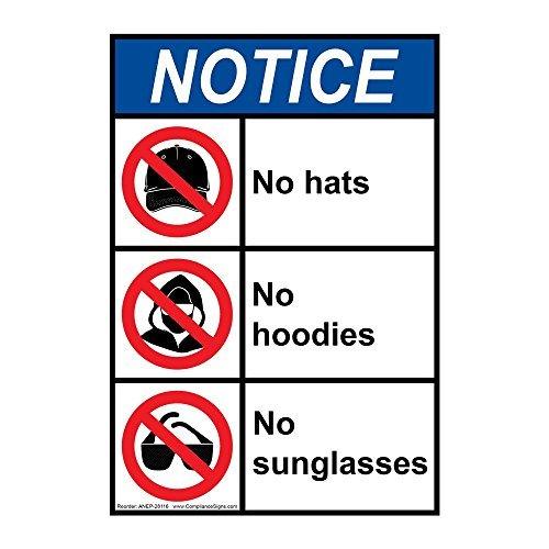 Verticale Ansi Merk Geen Hoeden Geen Hoodies Geen Zonnebril Vinyl Stickers Tekenen Zelfklevende Labels Sticker Sticker Tekenen Nieuwigheid Grappig 10 X 7 In