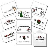 JOYIN 72 Stück Weihnachten Grußkarten Weihnachtskarten mit 8 einzigartigen festlichen Designs und Umschlägen für Winterweihnachtszeit Weihnachtsgeschenkverleihung Weihnachtsgeschenkkarten