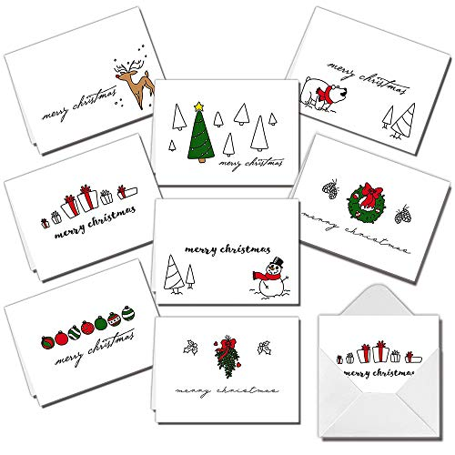 72 Piece Merry Christmas Holiday Greeting Cards Collection with 8 Unique Festive Designs & Envelopes for Winter Christmas Season, Holiday Gift Giving, Xmas Gifts Cards.