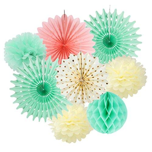 SUNBEAUTY Decoration Chambre Menthe Vert Rosace Papier Pompon Fleur Creme Rosette Boule Alveole Mariage Bapteme Baby Shower Maison Deco