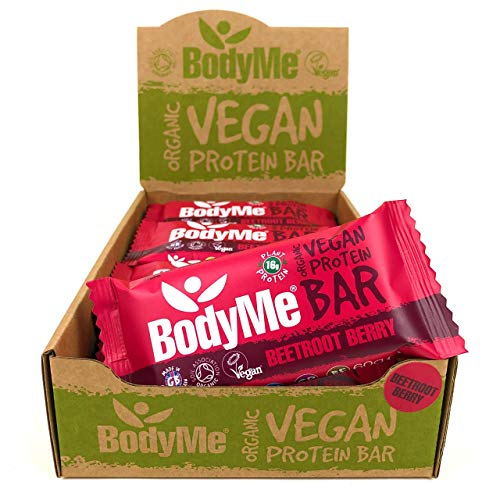 BodyMe Organic Vegan Protein Bar | Raw Beetroot Berry | 12 x 60g Vegan Protein Snack Bars Gluten Free | 16g Complete Protein | 3 Plant Proteins All Essential Amino Acids | High Protein Vegan Snacks