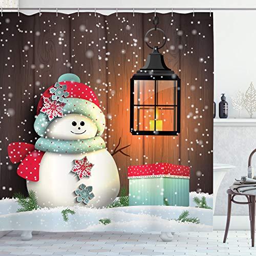 ABAKUHAUS Weihnachten Duschvorhang, Garten mit Gift Box, Hochwertig mit 12 Haken Set Leicht zu pflegen Farbfest Wasser Bakterie Resistent, 175 x 200 cm, Braun-weiß