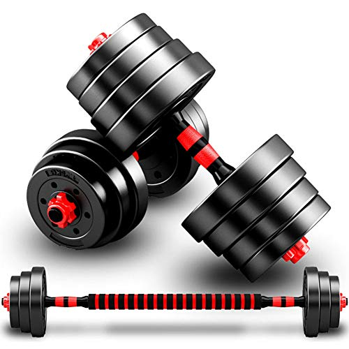10/20/30/40KG Adjustable Dumbbell Set Hand Weight with Solid Dumbbell Handles Changed into Barbell Handily Perfect for Bodybuilding Fitness Weight Lifting Training Home Gym,10kg