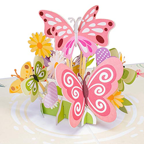 Paper Love Butterflies Pop Up Card, Handmade 3D Popup Greeting Cards for Valentines Day, Mothers Day, Wedding, Anniversary, Love, Romance, Thank You, Thinking of You, All Occasion | 5' x 7'