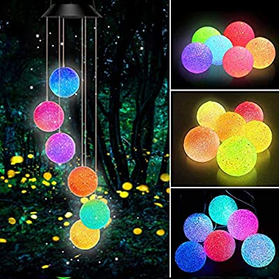 Powerole Crystal Ball Solar Wind Chimes Color-Changing LED Light, Solar Powered Mobile Hanging Chimes Waterproof Outdoor Romantic Decorative Wind Chimes, 7-Color LED Lights for Home/Garden/Party/Yard