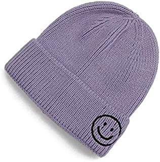 YBAA Hats Woman Knitting Wool Cap All-Match Set Head Cap Smiling Face Embroidery Children Keep Warm Hat Male (Color : Purple, Size : M (56 58cm))