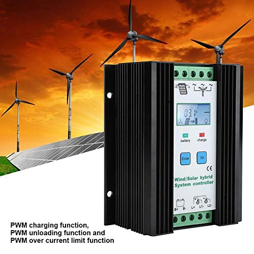 EBTOOLS 12V Wind Solar Hybrid Laderegler Hybrid Solar Wind Charge Controller Solarladeregler Windladeregler mit LCD-Bildschirm und PWM-Ladefunktion, -25℃ - + 55℃