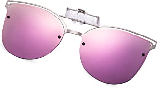 Polarized Clip-on Flip up Cat Eye Sunglasses Metal Frame for Prescription Glasses