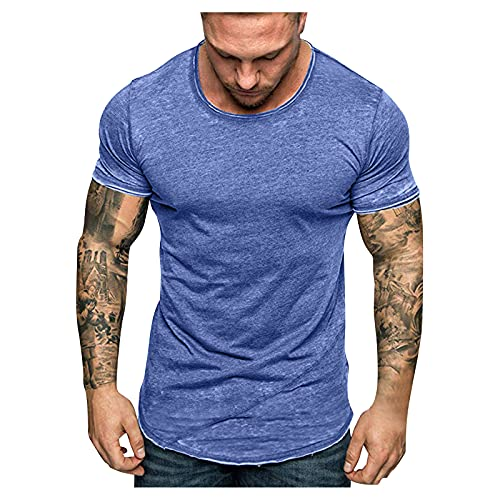 Camiseta de manga corta para hombre de manga corta, cuello redondo, elegante y ajustada, para verano, camiseta básica C_azul. M