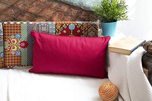DiseLio 1 Funda de Cojín 100% Algodón Color Rojo 30 x 50 cm. Cojines Decorativos con Cordón Vivo al rededor Que destaca su Elegancia. (Made in Spain) (1cl.lis.v-rj30)