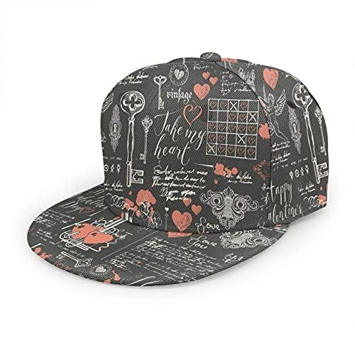 QQIAEJIA Declaración de Amor Sombrero de Béisbol Corazones Llaves Keyholes Cupidos Arte Abstracto Rojo Ajustable Snapback Sombreros Bola Sombrero Deporte Sombrero para Hombres y Mujeres