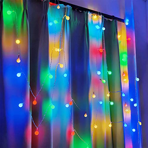 Fulighture IP42 Globe String Lights 29ft 80LEDs Ball Fairy Lights, USB Powered, Warm White 3300K, for Home Bedroom Lighting, Wedding, Party, Christmas, Festival, Tree Decoration