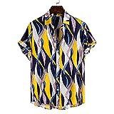 SSBZYES Chemise Homme à Manches Courtes été Chemise imprimée Homme Haut d'été Homme T-Shirt Pur Coton hawaïen imprimé Chemise à Manches Courtes