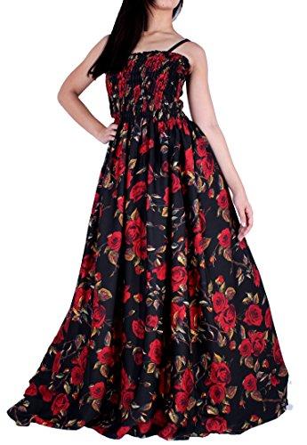 MayriDress Maxi Dress Plus Size Clothing Black Ball Gala Party Sundress Designer (4X, Black/Red Rose)