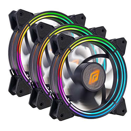 Noua Zephyr Black 3 ventiladores triple Halo RGB Rainbow Addressable 5V 3pin Cooling Fan 120mm 6-Pin 1100rpm Compatible ASUS Aura SYNC MSI Mystic Light SYNC AsRock Polychrome