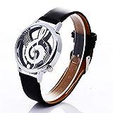 Evansamp Reloj de Pulsera para Mujer, diseño de Notas Huecas, de Acero Inoxidable, con Correa de Piel, Negro (Negro) - Evansamp20113