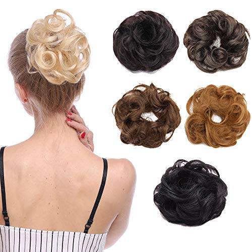 Extensions Echthaar Haarverlängerung unordentlich Dutt Hochsteckfrisuren Haargummi 100% Echthaar Gewellt #2 Dunkelbraun 23g