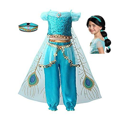 FINDPITAYA Nuevo Disfraz Aladin Vestido de Niñas Princesa Jasmine Halloween Navidad Cosplay Costume con Peluca y Sombrero (130)