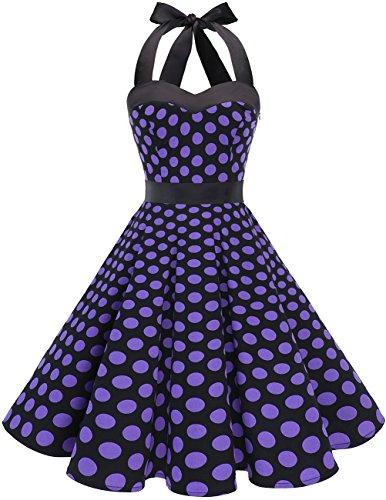 Dresstells DRESSTELLS Neckholder Rockabilly 1950er Polka Dots Punkte Vintage Retro Cocktailkleid Petticoat Faltenrock Black Purple Dot 3XL