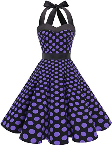 Dresstells DRESSTELLS Neckholder Rockabilly 1950er Polka Dots Punkte Vintage Retro Cocktailkleid Petticoat Faltenrock Black Purple Dot 2XL