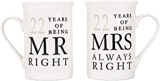 Haysoms Ivory White 22nd Anniversary Mr Right & Mrs Always Right Ceramic Mugs Gift Set Thoughtful and Unique Gift Idea Dishwasher and Microwave Safe | FDA Tested
