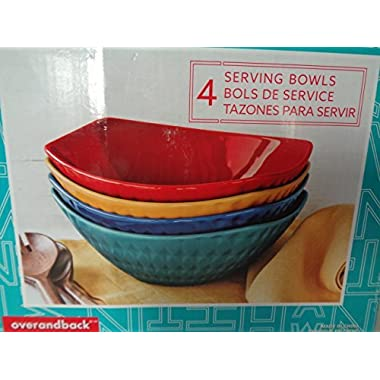 Manhattan Over-And-Back 4 Stoneware Serving Bowls Set in 4 different Rich Vibrant colors, New Product Line called