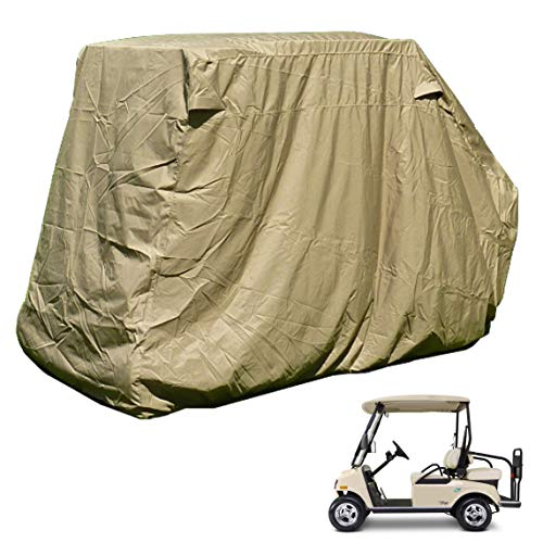 Golf Cart Storage Cover for EZGo, Club car 4 Seater with 2 Seater Roof up to 58' L Taupe