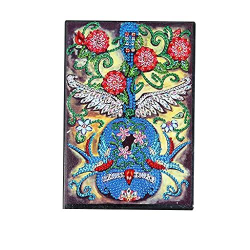 Cuadernos de Pintura de Diamante A5 Cuaderno de Escritura de Guitarra en Blanco Cuaderno con Pintura de Diamante 5D Libro de Bocetos de Cuero Diario de Bocetos Regalo 50 Hojas 120 Páginas