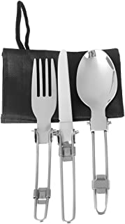 Trendy Retail Outdoor Camping Hiking Picnic Foldable Stainless Steel Tableware Kitchen Cutlery Supplies Set of 3PCS