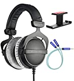 Beyerdynamic DT 770 PRO 80 Ohm Closed-Back Studio Mixing Headphones Bundle with Blucoil Aluminum Dual Suspension Headphone Hanger, and Y Splitter for Audio and Mic