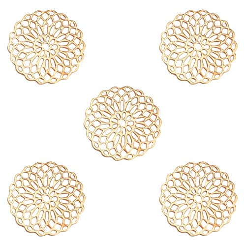 Sadingo Metall Schmuckverbinder Mandala, Anhänger Gold dünn und leicht, 15 mm, Schmuck basteln, DIY Armband, Ohrringe