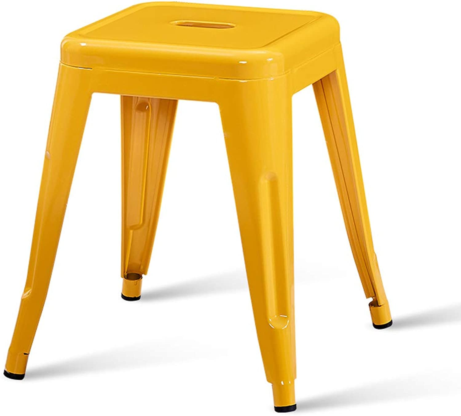 CJH Modern Minimalist Iron Stool Fashion Creative Stool Table Stool Home Living Small Bench Yellow Adult Stool