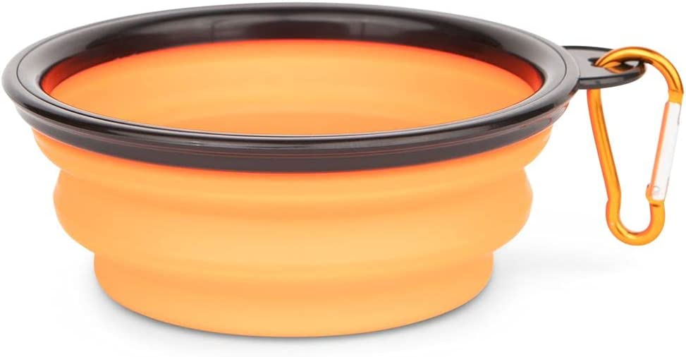 Furever Loyal - Collapsible Silicone Dog Bowl - Portable - Luxury Pop-Up Pet Food and Water Dish - Great for Hiking, Camping, & Travel - Foldable Dog Bowl with Carabiner Clip - Orange