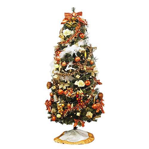 クリスマスツリー おしゃれ 北欧 120cm 高級 spruce LED付き オーナメントセット ツリー スリム ornament Xmas tree daydream 1(キャラメル)