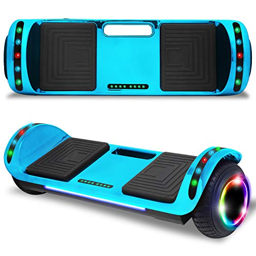 "cho 6.5"" inch Hoverboard Electric Smart Self Balancing Scooter with Built-in Wireless Speaker LED Wheels and Side Lights Safety Certified (Chrome Blue)"