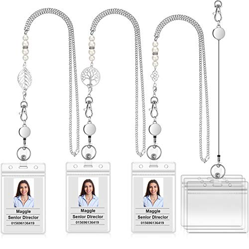 3 Pieces Retractable Badge Reel Lanyard Necklaces with 3 Pieces ID Holder Clips, Beaded Lanyards, Stainless Steel Leaf Chain, with 6 Pieces Waterproof Clear Badge Holder for Women Office Staff Student