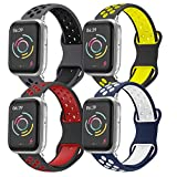Correa de Reloj Compatible con Apple Watch 44 mm 42 mm 40 mm 38 mm, Correa de Repuesto de Silicona Suave y Agradable para la Piel, Compatible con la Serie iWatch 5/4/3/2/1