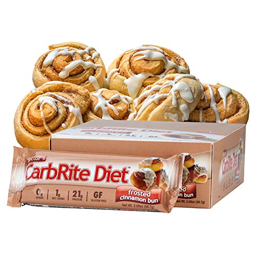 CarbRite Diet - 1g net Carbs - Gluten Free - Sugar Free - Protein Bar - Frosted Cinnamon Bun 2oz bar, 12 count