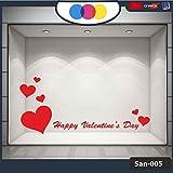 Pegatina para ventana de San Valentín, diseño de corazones adhesivos, 100 x 70 cm, color rojo