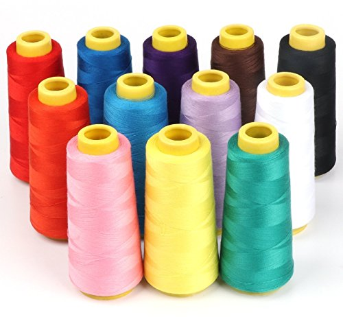 ilauke 12 X 1500M Overlock Sewing Thread Assorted Colors Yard Spools Cone 100% Polyester for Serger Quilting Drapery