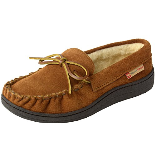 alpine swiss Sabine Womens Suede Shearling Slip On Moccasin Slippers Chestnut 9 M US